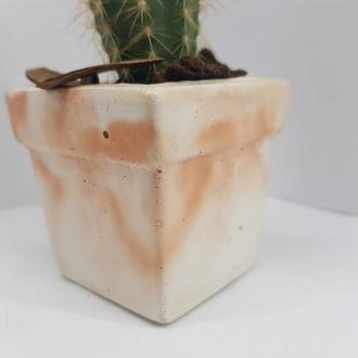 Горшок из бетона, мини горшок для цветов, горшок для кактусов в стиле Loft - белый с оранжевым