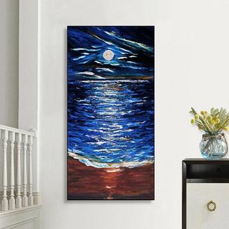 Морская полночь (картина масло/холст) 80х40х2 см