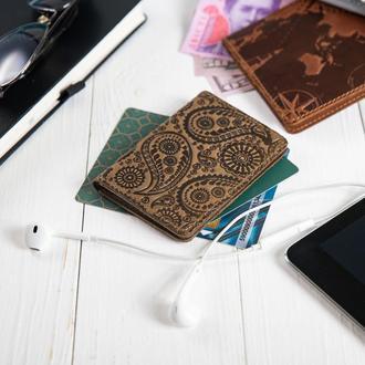 """Обложка-органайзер для документов  ( ID паспорт ) / карт Hi Art AD-03 Shabby Olive """"Buta Art"""""""