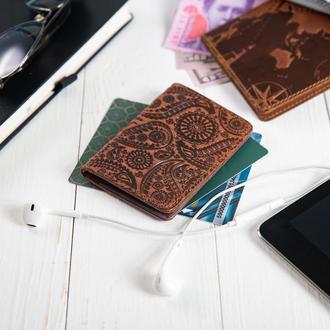 "Обложка-органайзер для документов  ( ID паспорт ) / карт Hi Art AD-03 Shabby Сognac ""Buta Art"""