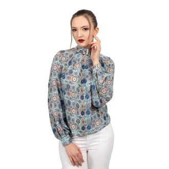 Блуза бирюзовая с принтом
