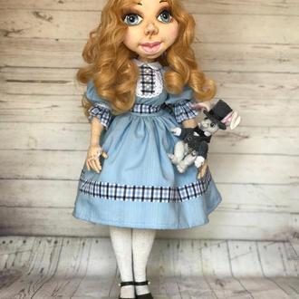 Интерьерная текстильная шарнирная кукла Алиса