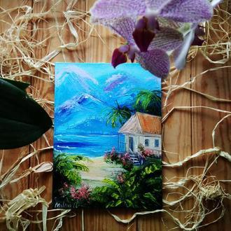 Картина миниатюра масло, холст,  Райское место