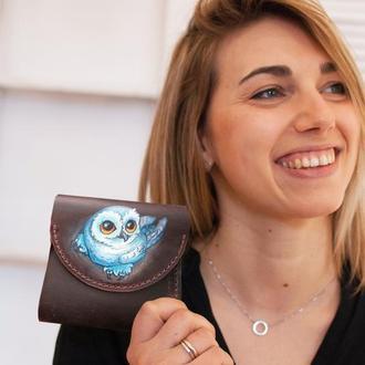 Маленький кожаный кошелек портмоне женский с росписью ручной работы