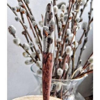 Заколка из дерева и смолы с сухоцветом, Веточка в эпоксидной смоле, подарок