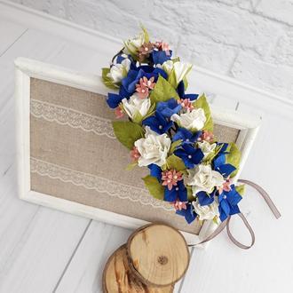 Венок на голову с цветами, свадебный венок с синими и белыми цветами