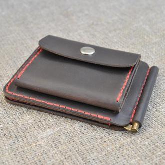 Кожаный зажим для денег Z06-450+red
