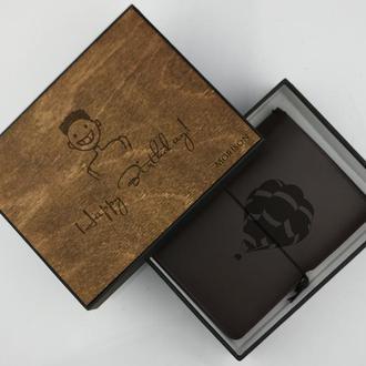 Кожаный дорожный блокнот, небольшой блокнот, Кожаный ежедневник, подарок мужчине, Блокнот в коробке