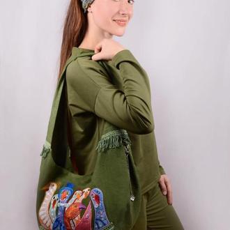 """Сумка из зеленого льна с вышивкой """"Разноцветные гуси"""". Эко-сумка из натуральных тканей"""