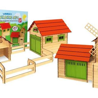 Конструктор деревянный 2 в 1 - Мельница и ферма - 217 деталей