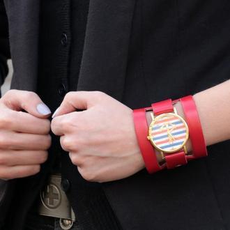 Красный ремешок для часов код 5620