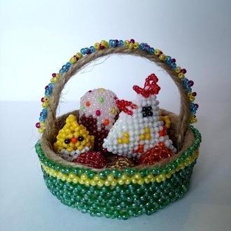 Пасхальная корзинка из бисера. Пасхальный сувенир