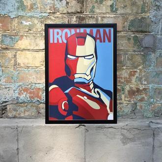 """Постер в рамке под стеклом А3 """"Железный человек"""" (Iron man)"""""""