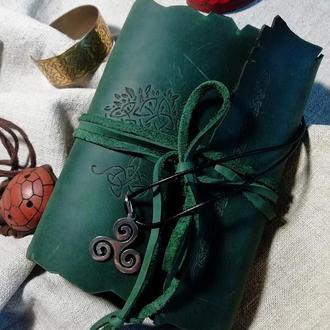 кожаный блокнот фентези, кельтский блокнот, блокнот с деревом, зеленый блокнот, блокнот из кожи