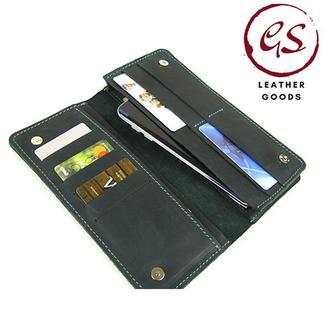 Большой кожаный кошелек клатч зеленого цвета