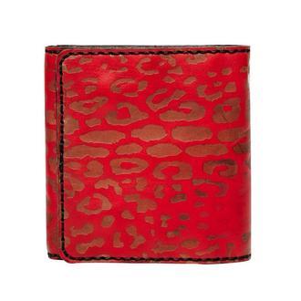 Портмоне шкіряне, червоне, з кишенею для копійок   Takeshi leopard wallet