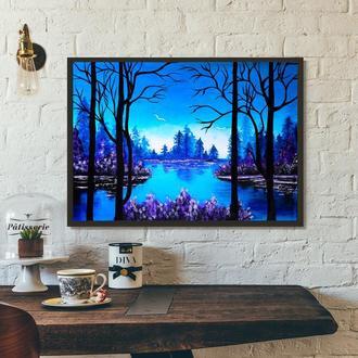 Синее озеро (картина масло/холст) 60х80х2 см