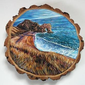 """Живопись на срезе дерева """"Пейзаж""""."""