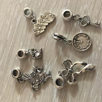 Шармы с кулоном, крест,  микс, металл, цвет античное серебро