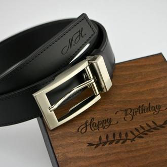 Прошивной кожаный ремень для мужчины с нанесением гравировки, Подарок мужу