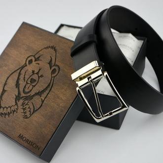 Мужской черный кожаный ремень, кожаный ремень под заказ, подарок мужчине, Кожаный ремень
