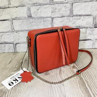"""Женская сумка """"Квадро"""" натуральная кожа красного цвета, цвет паприки, кроссбоди, сумка через плечо"""