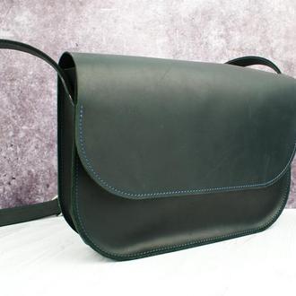 Класична шкіряна жіноча сумка на плече