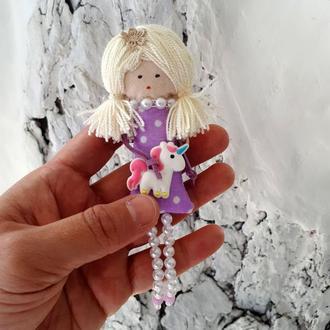 Текстильная куколка брошка с единорожкой