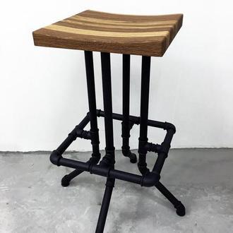 Барный стул Loft Art из водопроводных труб и натурального дуба