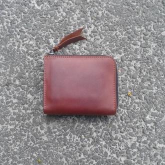 Портмоне кошелек на змейке на молнии натуральная кожа, кожаный кошелек, мужской кошелек