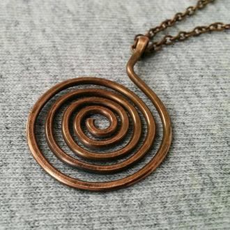 Подвеска спираль кулон колье из меди бирюза на цепи подарок