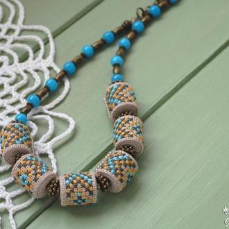 Бусы с ручной вышивкой в этно стиле