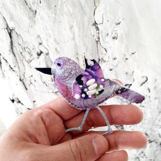 Лавандовая текстильная птичка брошка