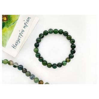 Браслет из натурального камня Агат Зелёный