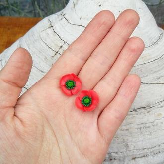 Маленькие серьги маки (1,5см), гвоздики.