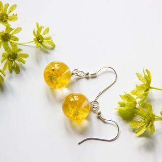 Сережки из смолы с желтыми лесными цветами