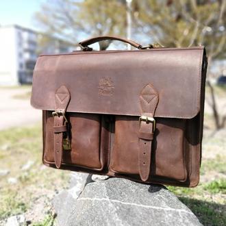 Кожаная мужская сумка мессенджер Бронкс. Кожаный коричневый портфель