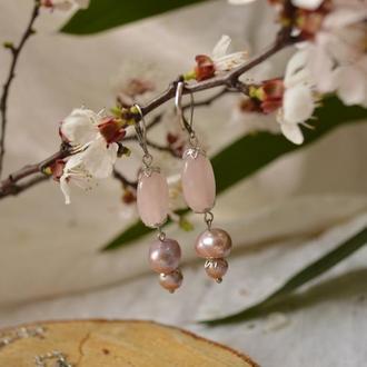 Серьги с розовым кварцем и лиловым жемчугом ′Пепел розы′