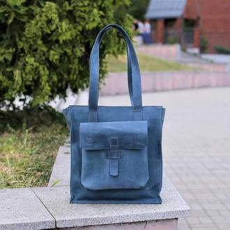 Кожаная сумка шоппер на плечо, Женская сумка на длинном ремне