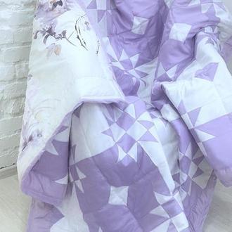 покрывало пэчворк-лоскутное одеяло -сиреневое покрывало на кровать-подарки на новоселье