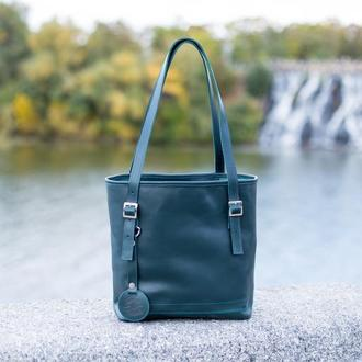 Женская сумка шоппер. Кажаная женская сумка на плечо