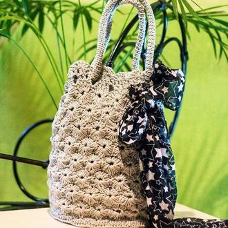 Сумка женская вязаная крючком бочонок + подарок  шарфик