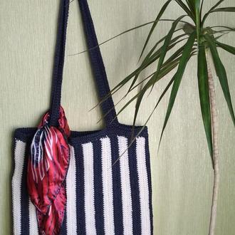 Сумка вязаная крючком  шоппер + подарок ремень и шарфик
