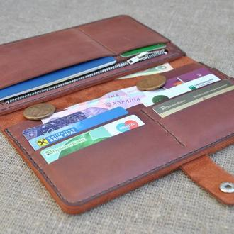 Мега вместительный кожаный кошелек K94-210