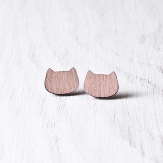 Сережки коты, Розовые серьги гвоздики, Серьги котики