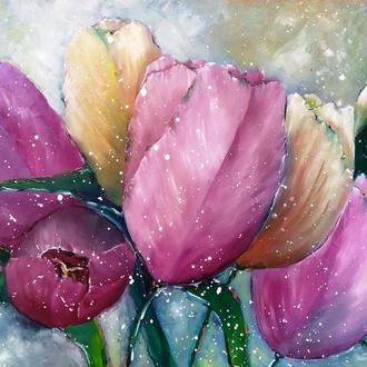 Картина маслом. Тюльпаны и тополиный пух. Оргалит.80х52 см.