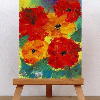 Яркие цветы (картина масло/холст) 15х20 см