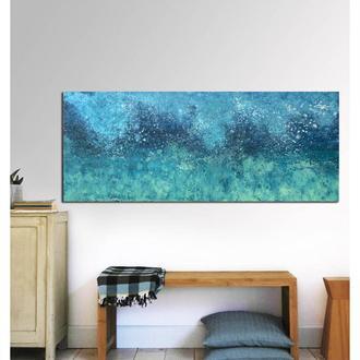 Морская абстракция (картина масло/холст) 40х80х2 см