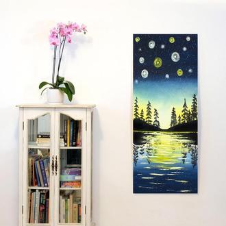 Звезды (картина масло/холст) 40х80х2 см