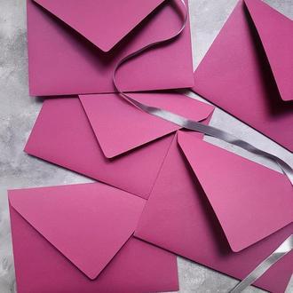 Цветной однотонный конверт 130 грамм (разные оттенки)